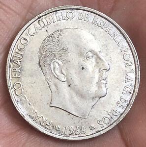 SPAIN 1966 100 PESETAS SILVER VERY NICE CONDITION B1