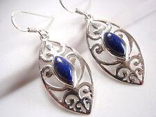 Lapis Lazuli Filigree Earrings Sterling Silver Dangle Corona Sun Jewelry