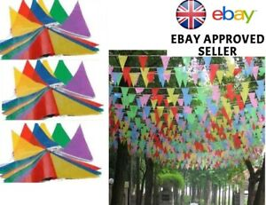 MULTICOLOUR BUNTING FLAGS PENNANTS BANNER DECORATION BIRTHDAY PARTY OUTDOOR  UK
