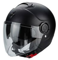 CASCO HELMET MOTO JET SCORPION EXO CITY NERO OPACO MATT BLACK DOPPIA VISIER TG L
