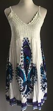 Unique Retro Hippy Boho Multi Coloured COTTON CHARM Crochet Top Dress Size S/M