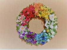 Rainbow door wreath, Summer/Fall wreath, Rainbow flower wreath