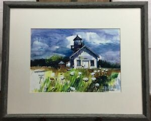 Vilma Maire Patterson-Antoine Plein-air Original Lighthouse Watercolor Painting