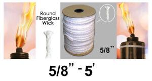 "5/8"" Round Fiberglass Wick 5' Kerosene Lamp Tiki Torch Bottle Oil Candle USA"
