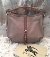 Authentic Burberry Grafton City Tan Leather Perforated Hobo Bag $1295