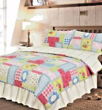 KING SIZE COMPLETE SET PATCHWORK MULTI BLUE PINK GREEN FLORAL VALANCE SHEET