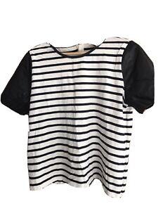 Annn Taylor Strip Black Pleather Tshirt XL