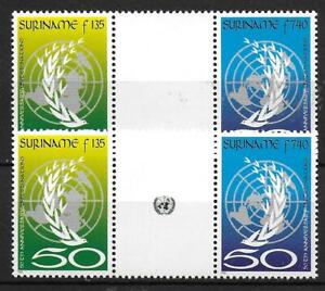 Suriname stamps 1995 ZBL 851-852BP+BPA MNH VF GUTTERPAIRS Cat Value$55