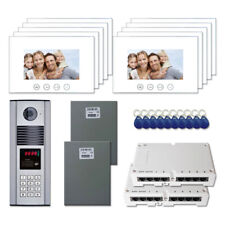 """Apartment Door Security Video Intercom Kit System with (10) 7"""" Color Monitors"""