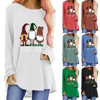 Womens Long Sleeve T-shirt Xmas Loose Casual Blouse Autumn Tee Tops Christmas US