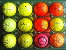 12 VINTAGE COLOURED GOLF BALLS, COLLECTIBLE,PLAYER,PRO-AM,COMMANDO, ETC