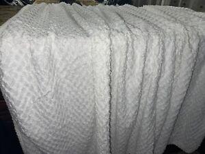 Martha Stewart Vintage White 100%Cotton Diamond Chenille Twin bedspread Coverlet