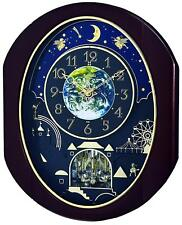 "(New!) Rhythm ""VELVET COSMOS"" Musical Magic Dial Motion Wall Clock 4MH428WU06"
