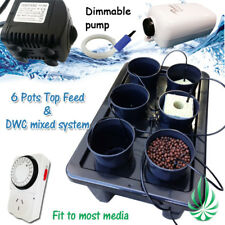 Hydroponics 6 Pots Watering Dripping System Water Air Pumps Completed Setup Kits
