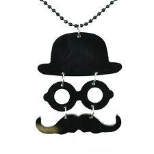 Poizen Industries Moustache & Hat Necklace Ladies Black Goth Emo Punk Girls
