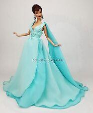 Blue Chiffon Ball Gown Evening Dress Outfit Barbie Silkstone Fashion Royalty FR