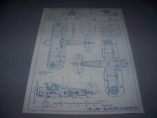 VINTAGE..J8/J8A GLOSTER GLADIATOR...5-VIEWS/CROSS SECTIONS....RARE! (198D)
