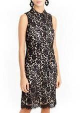 J Crew Black Floral Lace Party Cocktail Collared Sheath Shift Dress 6