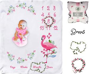 Flamingo Baby Monthly Milestone Blanket 🌸Floral Wreath Newborn Pink Number