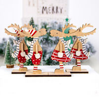 Christmas Decoration Wood Painted Elk Wooden Hanging Ornaments Wood DIY Crafts.