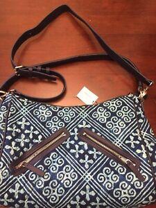 Vera Bradley Shoulder Bag Crossbody Bag Vivian Hobo Bag Cuban Tiles Blue NWT