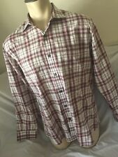 Nat Nast Luxury Mens Shirt Large American Fit Plaid Long Sleeve Button Front