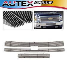 3x Chrome Billet Grille Grill Insert for 2011-2014 Chevy Silverado 2500HD/3500HD