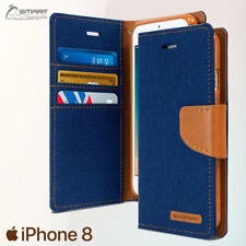 Blue Canvas Diary Jeans Wallet Flip Tpu Case Cover For iPhone 8 / 8Plus / 7 Plus