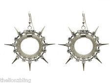 Punk Hip Hop Earrings Silver Hoops with Metal Spikes & Crystal Bling