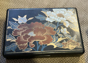 Japanese Black Laquered Plastic Square lided Box with Flowers Jewelry Bento Trinket 1980s