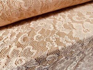 Stretch Lace Dress Fabric, Per Metre - Flower Design - Peach