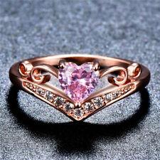 Heart Cut Pink Sapphire CZ Engagement Ring Rose Gold Womens Wedding Band Sz 5-10