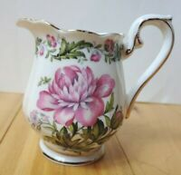 Vintage Royal Albert Creamer Cotswold Bone China England Pink Floral Gold Trim