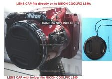 FRONT SNAP-ON LENS CAP DIRECTLY to NIKON COOLPIX L840 L 840 CAMERA+HOLDER