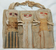 "6"" Antique Hand Crafted Native Cloth Dolls Decorative Wall Hanging"