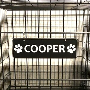 """Kennel Name Plate Dog Paw Crate Pet Tag 20+ Color Options - """"S"""" Hooks Included"""