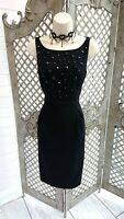 🌹AUTOGRAPH🌹M&S BLACK BEADED WIGGLE PENCIL COCKTAIL DRESS UK 8 PARTY FORMAL