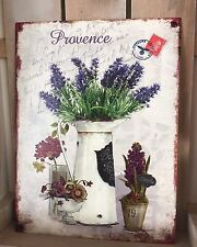 Metal Wall Plaque Lavender Jug French Provence Vintage Chic Shabby Distressed
