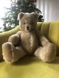 vintage Very Large Jointed Mohair Bear With Grolwer