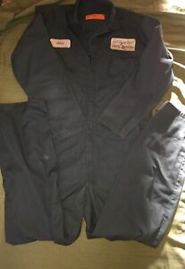 Coveralls Red Kap Mens Size 44 L Green Removable Patches Made In Mexico