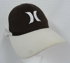 HURLEY Brown CREAM Logo HAT Fitted BASEBALL Cap FLEXFit Sz XS Yupoong READ