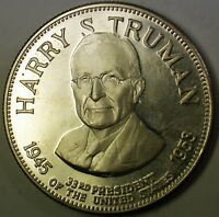 Harry S Truman Presidential Commemorative Sterling Silver Proof Large Medal
