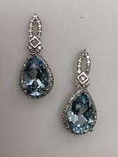 14K White Gold Pear Shape Sky Blue Topaz and White Diamond Dangle Earrings New