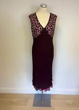 COUNTRY CASUALS BURGUNDY & ROSE PINK SILK DRESS SIZE 14 PETITE