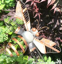 Grey & Copper painted Metal HONEY BEE STAKE garden ornament decoration sculpture