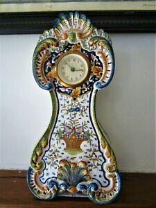 Ancienne grande horloge pendule faience signée Desvres Géo Martel Rouen
