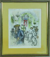 Ira Moskowitz (Polish/American b.1912-) Judaica Jewish etching print signed
