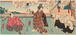 Genuine original Japanese woodblock print Osaka Yoshitaki Triptych 1858