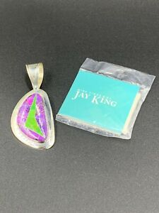 Jay King DTR Mine Finds Sterling Green & Purple Turquoise Inlay Pendant