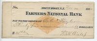 1882 RN-G1 Mount Holly NJ Farmers National Bank check [y3798]